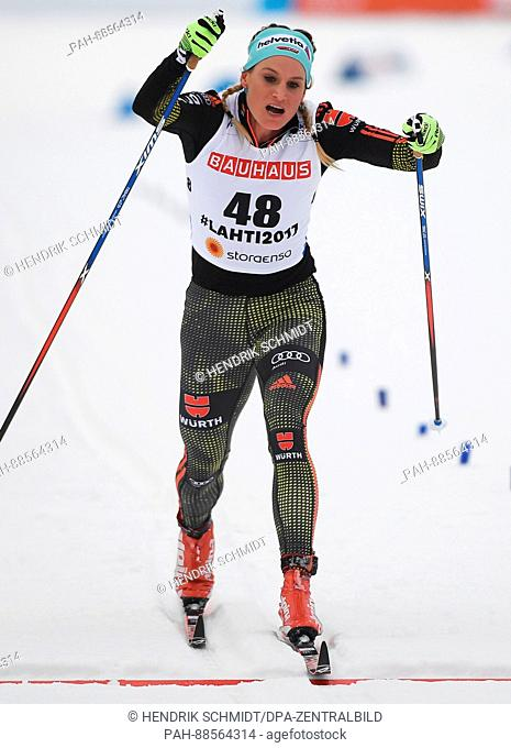 German Nicole Fessel in action during the women's cross country 10km event at the Nordic Ski World Championship in Lahti, Finland, 28 February 2017