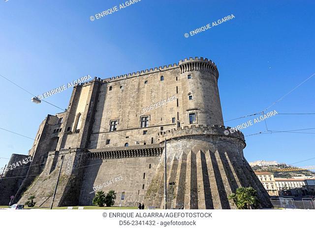 Italy, Naples. New Castle aka Castel Nuovo or Maschio Angioino, headquarters of the Neapolitan Society of National History