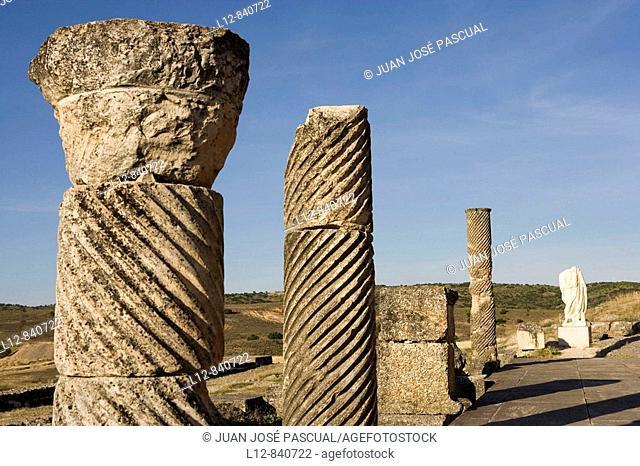 Saelices Provincia de Cuenca Castilla la Mancha España Parque arqueológico de Segóbriga Ciudad Romana Columnas estriadas en la escena del teatro