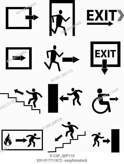 emergency exit signs icon set