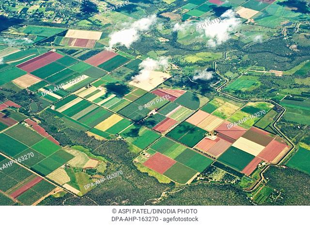 Aerial view of fields ; Cairns ; Queensland ; Australia