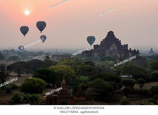 Hot air Balloons flying over the temples of Bagan Historical site, Myanmar