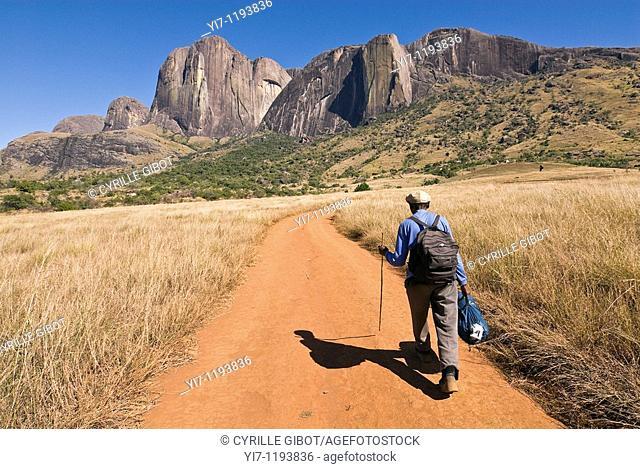 Senior hiker on trail, Andringitra National Park, Madagascar