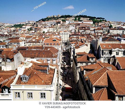 View over city to Castelo de Sao Jorge, Alfama and Baixa quarters, Lisbon, Portugal