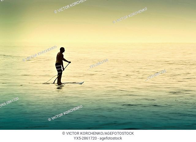 Paddleboarding on a beach near Puerto Vallarta, Mexico