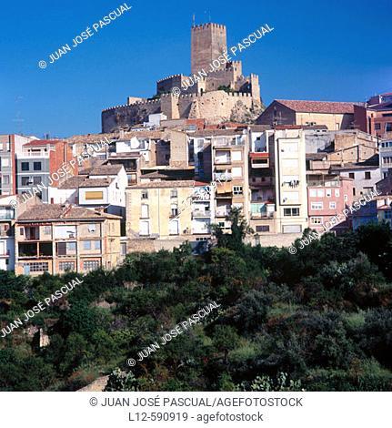 Castle and village. Banyeres de Mariola. Alicante province, Comunidad Valenciana. Spain