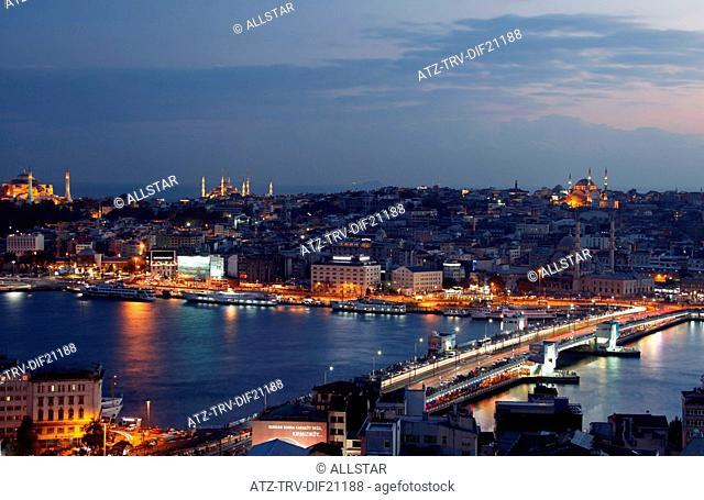 GALATA BRIDGE & SKYLINE; SULTANAHMET, ISTANBUL, TURKEY; 11/11/2012