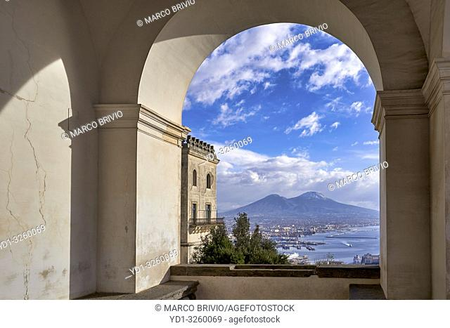 Naples Campania Italy. View of the gulf of Naples and Mount Vesuvius from the Certosa di San Martino (Charterhouse of St