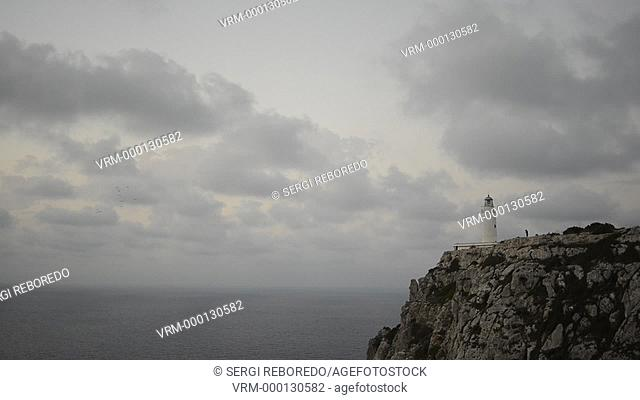 Sunrise. Lighthouse, Faro de la Mola, Formentera, Pityuses, Balearic Islands, Spain, Europe