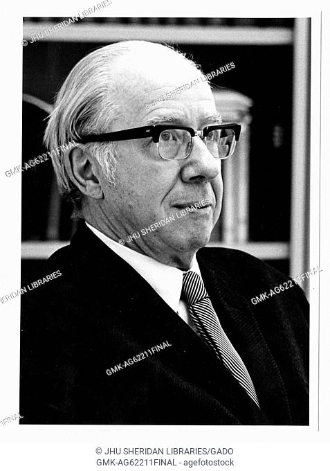 Don Cameron Allen, a former Professor of English literature, Portrait photograph, Sitting, Chest up, Three-quarter view, c 58 years of age, 1963