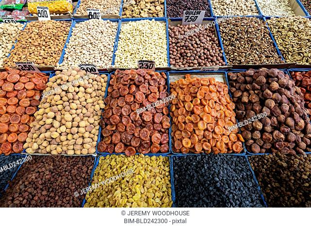 Bins of nuts and dried fruit at bazaar