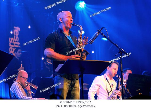 New Zealand saxophonist Hayden Chisholm and the Lucerne Jazz Orchestra open the Moers Festival, in Moers, Germany, 22 May 2015
