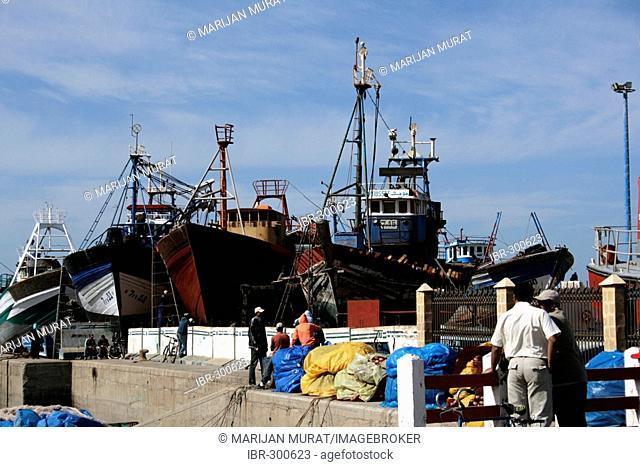 Fishing boats in the harbor, Essaouira, Morocco