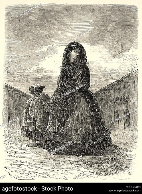 Lady of the bourgeoisie dressed in typical clothes to go to church, Cusco 19th Century. Peru, South America. Old 19th century engraved illustration
