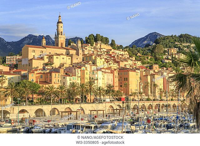 France, Alpes Maritimes, Menton, the Vieux Port and the old town dominated by the Saint Michel Archange basilica