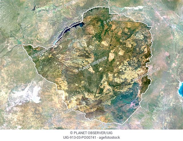 Zimbabwe, Africa, True Colour Satellite Image With Border And Mask. Satellite view of Zimbabwe with border and mask. This image was compiled from data acquired...