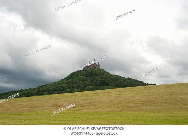 06. 06. 2017, Hechingen, Baden-Wuerttemberg, Germany, Europe - A view of Hohenzollern Castle on the Hohenzollern mountain that is situated between the towns of...