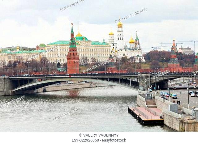 Bridge on River and Kremlin in Moscow in autumn