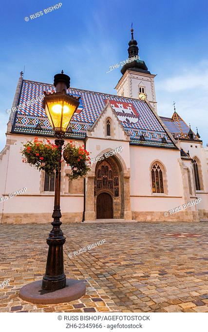 Evening light on Saint Mark's Church in old town Gradec, Zagreb, Croatia