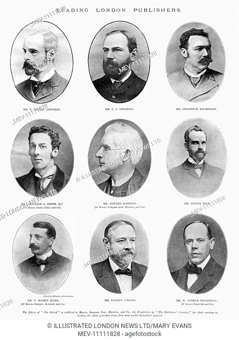 Page from The Sketch magazine featuring portraits of leading London publishers. Top row from left: Mr T. Norton Longman, Mr C. J