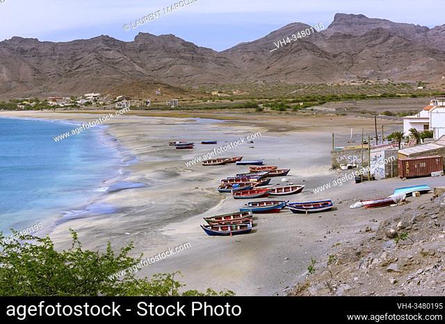 Boats on the Beach of Sao Pedro Village, Sao Vicente, Cape Verde Islands, Africa
