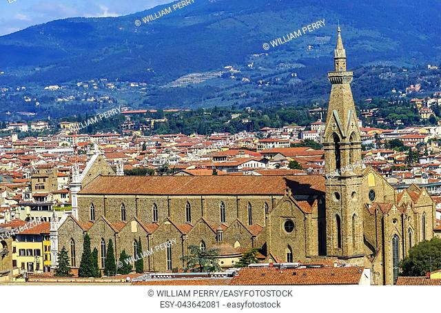 Orange Roofs Badia Florentina Benedictine Abbey Church Cityscape Wide Florence Italy