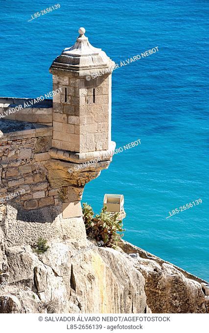 Watchtower, Garita de la Campana, Santa Barbara Castle, Alicante, Costa Blanca, Spain