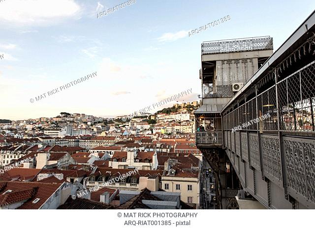 A People Wait To Ride The Santa Justa Lift In The Chiado Neighborhood Of Lisbon\, Portugal