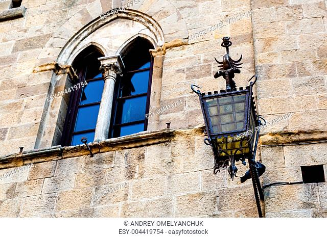 Ancient Streetlight in Priori Square at Volterra in Tuscany, It