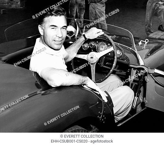 Porfirio Rubirosa at the wheel of his Italian race car, a $17,000 Ferrari Mondial. Cleveland Press photo by Lester Nehamkin. Ca. Aug. 1955