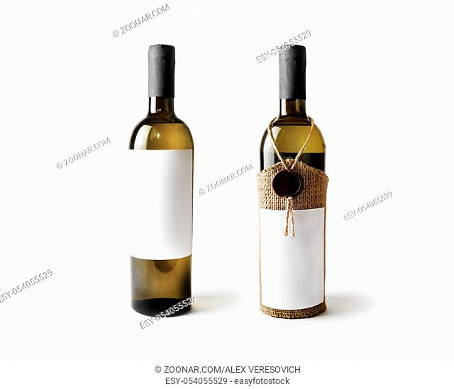 Two wine bottles with blank labels. Template for placing your design