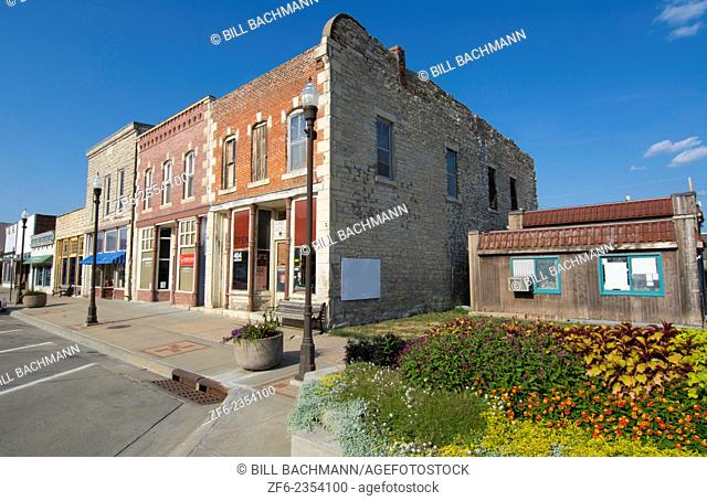 Wamego Kansas from The Wizard of Oz going home to Kansas main street called Lincoln Avenue shops and stores