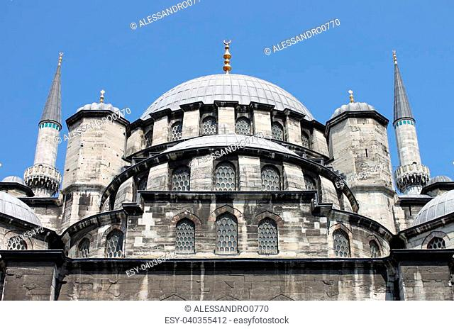 Domes of Yeni Cami Mosque in Istanbul, Turkey