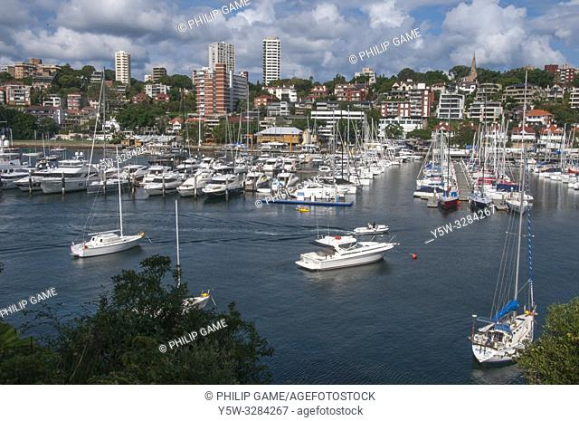 Yachts at anchor in Rushcutters Bay, Sydney, Australia