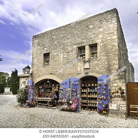 Souvenir shop in Baux-de-Provence. Bouches du Rhone, Provence, France, Europe