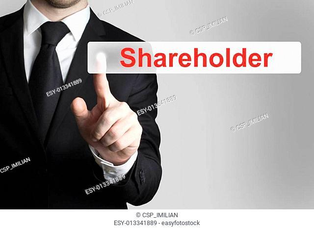 businessman pushing button shareholder