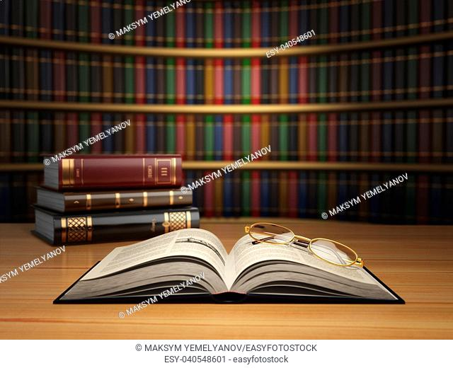 Vintage books in library. Concept of education or book store. 3d