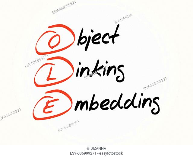 OLE Object Linking and Embedding, acronym concept