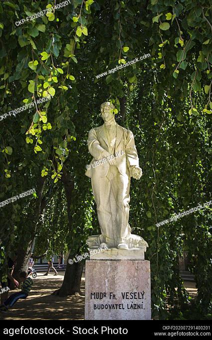 The marble statue of spa founder Dr Frantisek Stastny, by sculptor Franta Uprka, in Luhacovice Spa, Zlin Region, Czech Republic, July 17, 2020