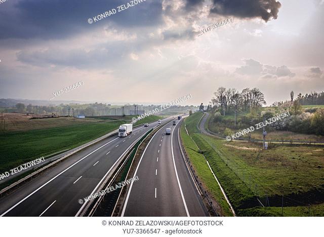 Expressway S52 near Bielsko-Biala city in Silesian Voivodeship of Poland