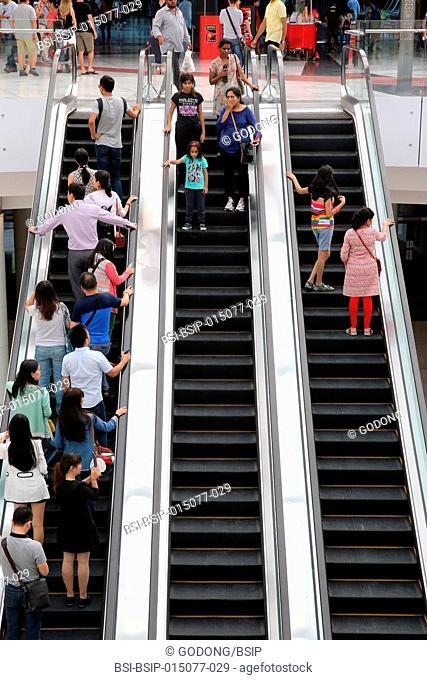 Yas Mall shopping centre on Yas Island in Abu Dhabi. Escalators