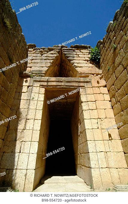 Ancient Mycenae, Greece, the entrance to the Treasury of Atreus