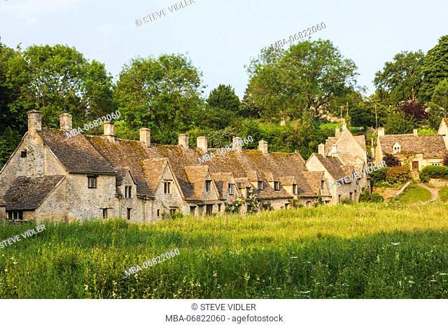 England, Cotswolds, Gloucestershire, Bibury, Arlington Row Cottages