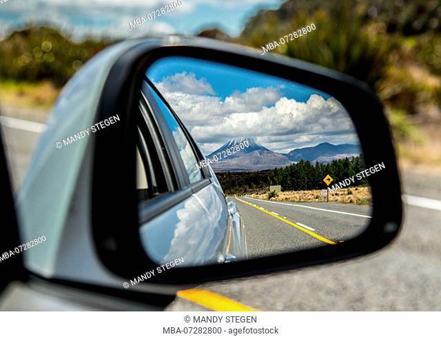 New Zealand, Car, Outside Mirror, Mount Ngauruhoe in Tongariro National Park