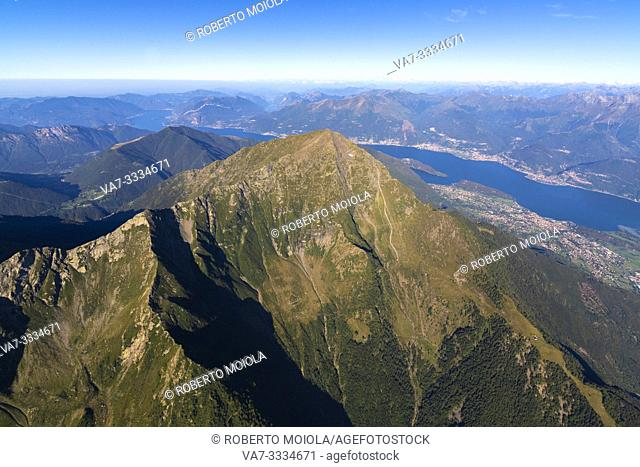 Aerial view of Grigna (Grignone) with Lake Como in the background, Valsassina, Lecco province, Lombardy, Italy