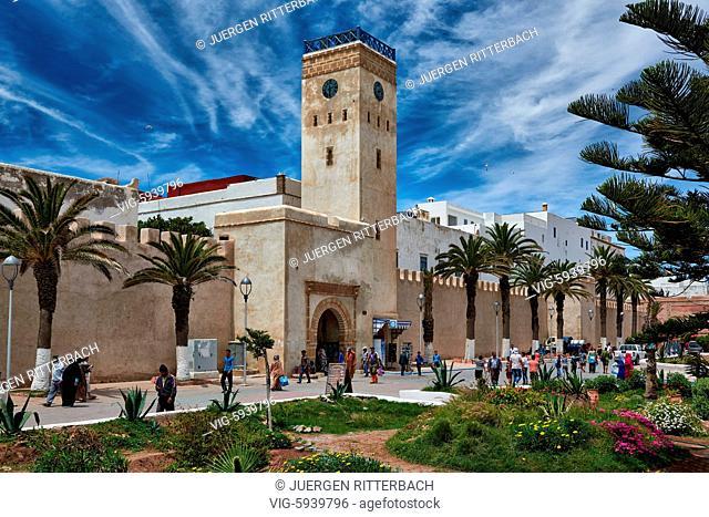 MOROCCO, ESSAOUIRA, 27.05.2016, Avenue Oqba Ibn Nafiaa in medina of Essaouira, UNESCO world heritage site, Morocco, Africa - Essaouira, Morocco, 27/05/2016