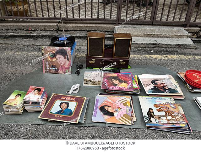 Old Chinese records for sale at a street market along Jonker Street, Malacca, Malaysia