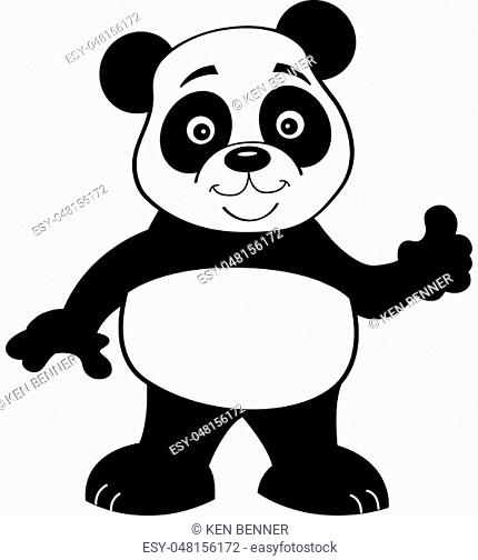 Black and white illustration of a panda bear giving thumbs up