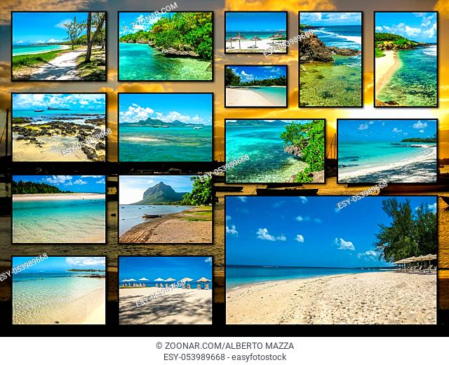 Mauritius pictures collage of different famous locations landmark of Republic of Mauritius, Indian Ocean, Africa on sunset background
