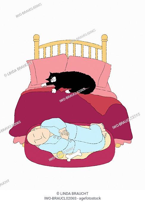 Man Sleeping in Dog Bed
